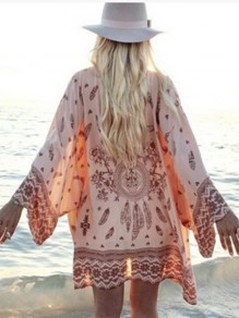 Pink Floral Print Beach Cover Up Bikini Sunscreen Bohemian Kimono Women Blouse