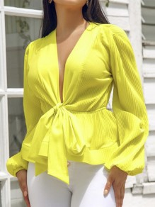 Yellow Belt Peplum V-neck Long Sleeve Elegant Party Blouse