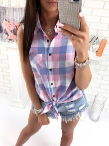 Pink Plaid Pockets Buttons Turndown Collar Sleeveless Fashion Blouse