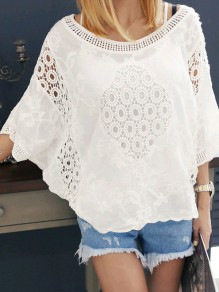 White Patchwork Cut Out Lace Elbow Sleeve Fashion Blouse