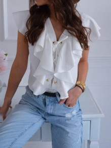White Ruffle Lace Up V-neck Short Sleeve Fashion Going out Blouse