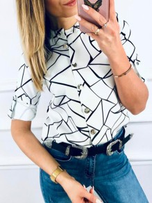 White Geometric Single Breasted Bodycon Round Neck 3/4 Sleeve Going out Blouse