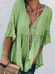 Green Patchwork V-neck Elbow Sleeve Going out Blouse