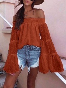 Red Polka Dot Draped Off Shoulder Backless Flare Sleeve Bohemian Blouse