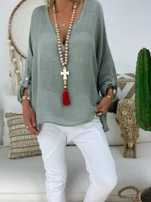 Green Print Going out Fashion Comfy Long Sleeve Blouse
