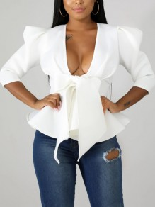 White Bow Ruffle Peplum Deep V-neck Elegant Party Blouse