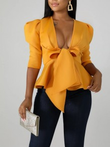 Yellow Bow Ruffle Peplum Deep V-neck Elegant Party Blouse