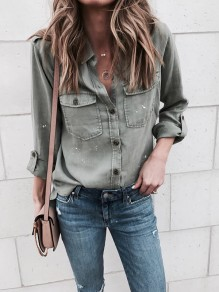 Green Patchwork Pockets Single Breasted Long Sleeve V-neck Fashion Blouse