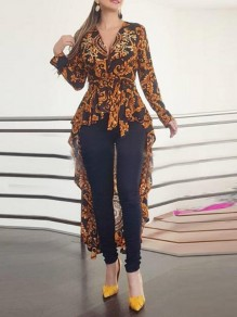 Brown-Black Floral Irregular Swallowtail High-low Peplum Elegant Party Blouse