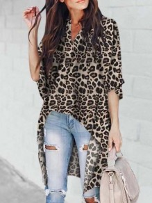 Grey Leopard Pattern Pleated High-Low V-neck Dolman Sleeve Casual Blouse