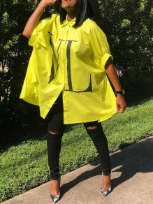 """Blouse """"vl"""" boutons manches dolman casual jaune"""