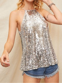 Silver Patchwork Sequin Halter Neck Sparkly Glitter Birthday Party Blouse