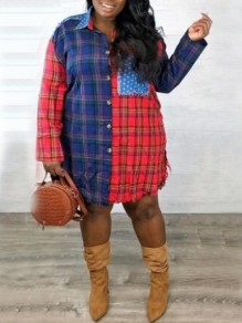 Red-Blue Plaid Star Print Pockets Single Breasted Distressed Turndown Collar Casual Blouse