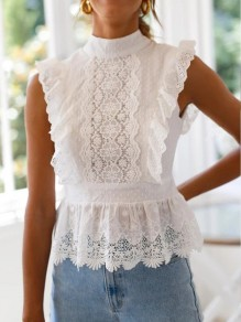 White Polka Dot Lace Tie Back Band Collar Sleeveless Elegant Blouse