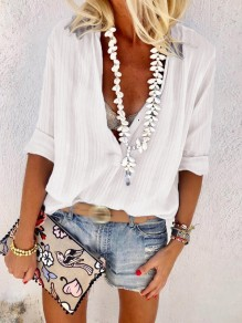 White Patchwork Buttons Loose V-neck Long Sleeve Fashion Blouse