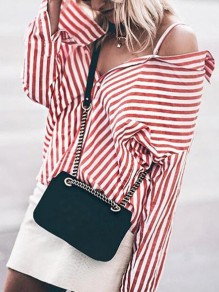 Pink Striped Shoulder-Strap Buttons V-neck Long Sleeve Fashion Blouse