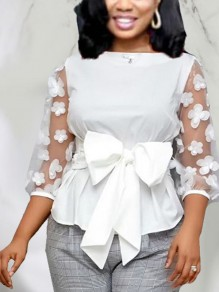 White Patchwork Grenadine Bow Peplum Party Blouse