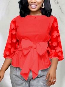 Red Patchwork Grenadine Bow Peplum Party Blouse