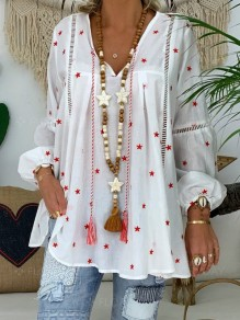 White Floral Pattern Cut Out Star Long Sleeve V-neck Fashion Blouse
