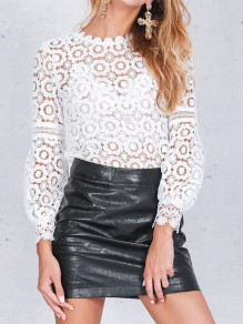 White Lace Round Neck Lantern Sleeve Going out Blouse