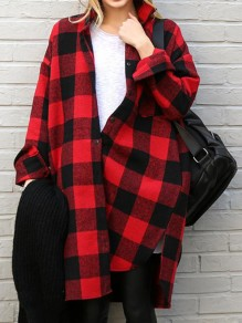 Red Plaid Pockets Single Breasted Turndown Collar Long Sleeve Fashion Blouse