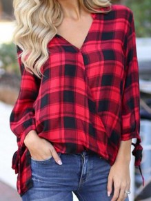 Red Plaid Draped Lace-up V-neck Long Sleeve Going out Casual Blouse