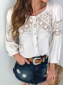 White Patchwork Lace Single Breasted Round Neck Puff Sleeve Fashion Blouse