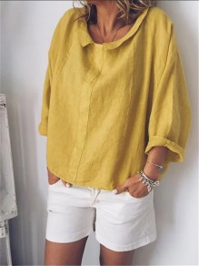 Yellow Turndown Collar Long Sleeve Fashion Going out Blouse