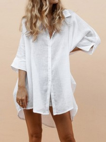 White Single Breasted High-low Turndown Collar 3/4 Sleeve Fashion Blouse