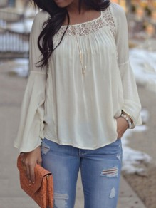 White Patchwork Lace Backless Chiffon Square Neck Bell Sleeve Going out Blouse