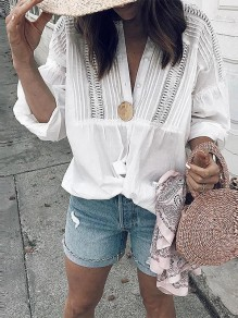 White Patchwork Lace Single Breasted Pleated Chiffon Long Sleeve Fashion Blouse