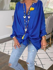 Blue Knot Bodycon Comfy V-neck Long Sleeve Going out Blouse