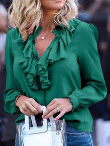 Green Single Breasted Ruffle Collar V-neck Long Sleeve Elegant Casual Blouses