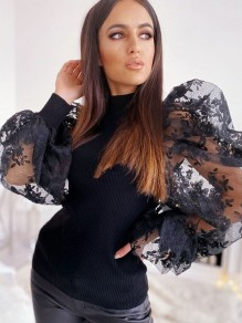 Black Patchwork Lace Puff Sleeve Party Blouse