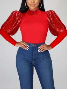 Red Patchwork Sequin Puff Sleeve Sparkly Glitter Birthday Party Blouse
