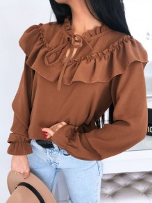 Brown Ruffle Lace-up Band Collar Long Sleeve Elegant Blouse