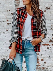 Red Plaid Splicing Hit Color Pockets Turndown Collar Long Sleeve Fashion Blouse