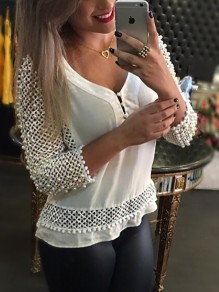 White Patchwork Beading Cut Out Pearl Splicing Beaded Daily Blouse