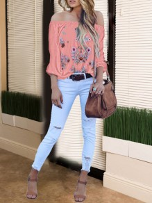 Pink Gypsy Floral Embroidery Print Off Shoulder Long Sleeve Mexico Fashion Blouse