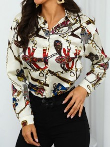 Beige Floral Single Breasted Turndown Collar Long Sleeve Fashion Blouse