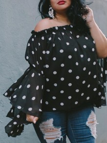 Black White Polka Dot Off Shoulder Chiffon Flare Sleeve Plus Size Casual Blouse