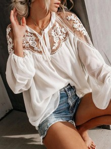 White Splicing Lace Going out Comfy Flowy Long Sleeve Blouse