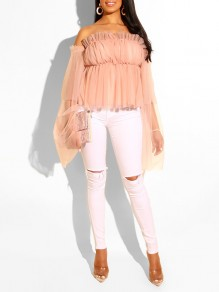 Pink Grenadine Ruched Off Shoulder Backless Bell Sleeve Sweet Casual Blouse