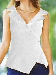 White Irregular Single Breasted Tailored Collar Sleeveless Fashion Vest Blouse