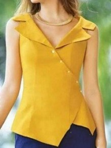 Yellow Irregular Single Breasted Tailored Collar Sleeveless Fashion Vest Blouse