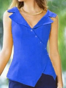 Blue Irregular Single Breasted Tailored Collar Sleeveless Fashion Vest Blouse