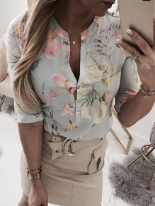 Blue Grey Flowers Print Buttons V-neck Half Sleeve Blouse