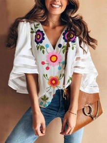 White Flowers Print Grenadine V-neck Flare Sleeve Fashion Blouse