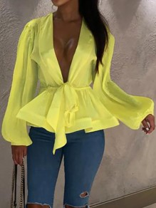 Neon Yellow Ruffle V-neck Lantern Sleeve Lace-up Peplum Tutu Cardigan Cute Blouse