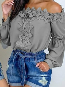 Grey Patchwork Lace Off Shoulder Long Sleeve Fashion Blouse